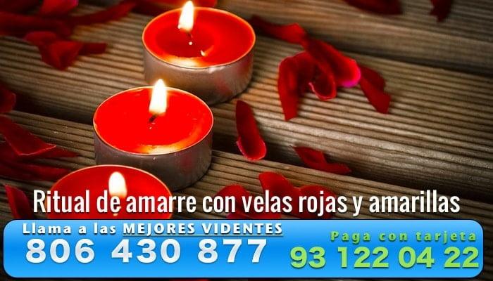 Ritual de amarre con velas rojas y amarillas